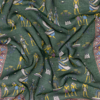 Green Egyptian Print Cotton-Modal-Cashmere Pocket Square - Exquisite Trimmings