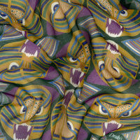 Green Bold Tiger Print Cotton-Modal-Cashmere Pocket Square - Exquisite Trimmings