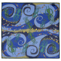 Cosmic Octopus Print Cotton-Modal-Cashmere Pocket Square - Exquisite Trimmings