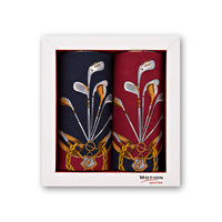 + Mileta Navy/Wine Golf Club Print Handrolled Cotton Handkerchiefs