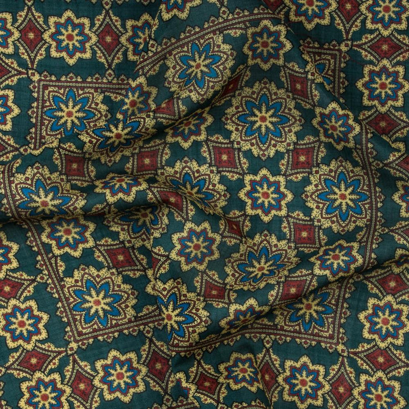 Exclusive Green Floral Medallion Print Silk/Wool Pocket Square - Exquisite Trimmings
