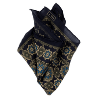 Exclusive Navy Floral Medallion Print Silk/Wool Pocket Square - Exquisite Trimmings