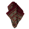 Exclusive Wine Paisley Print Silk/Wool Pocket Square - Exquisite Trimmings