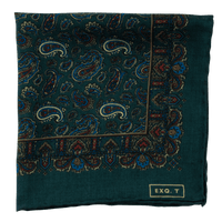 Exclusive Green Paisley Print Silk/Wool Pocket Square - Exquisite Trimmings