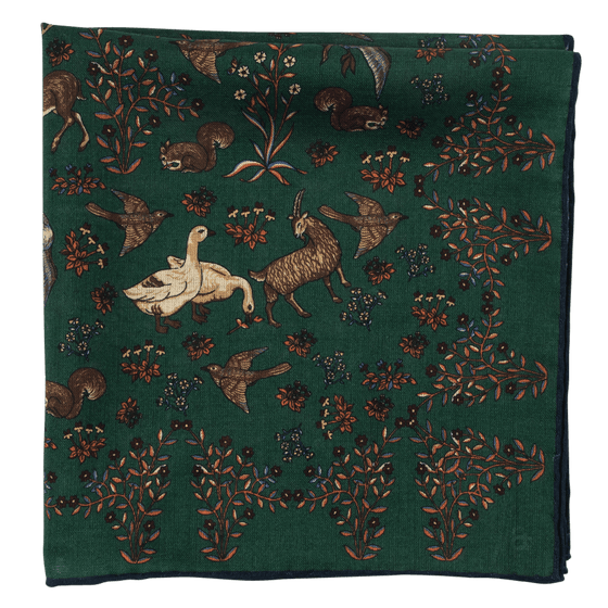 Exclusive Green Wildlife Print Silk/Wool Pocket Square - Exquisite Trimmings