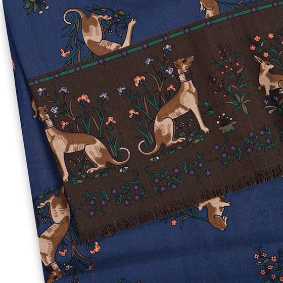 Navy Unicorn Print Silk/Wool Double-Sided Scarf