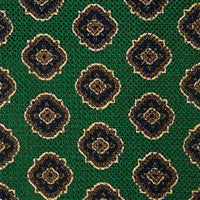 Green Medallion Printed Grenadine Silk Tie