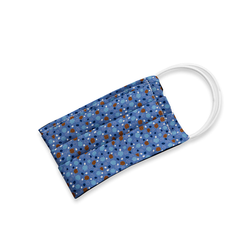 Blue Starburst Print Silk Face Mask (Small)