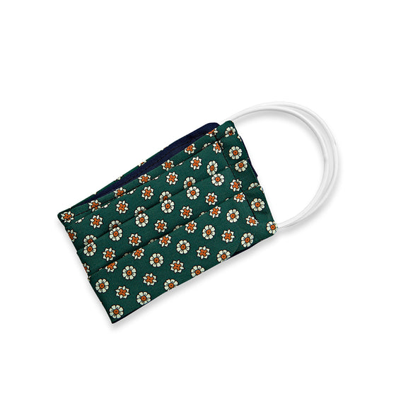 Green Flower Print Silk Face Mask (Small)