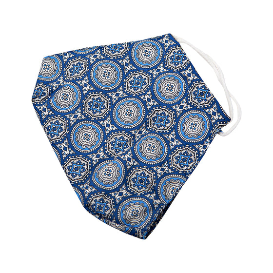 Blue Medallion Printed Cotton Face Mask