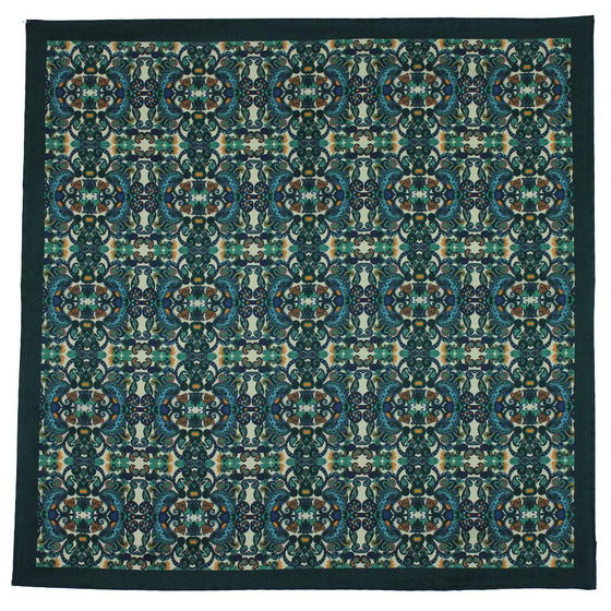 Green Labyrinth Print Silk Pocket Square - Exquisite Trimmings