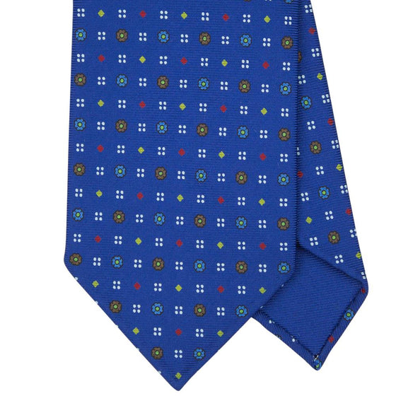 Navy Macclesfield Print 36oz 3-Fold Silk Tie 8cm N4 - Exquisite Trimmings