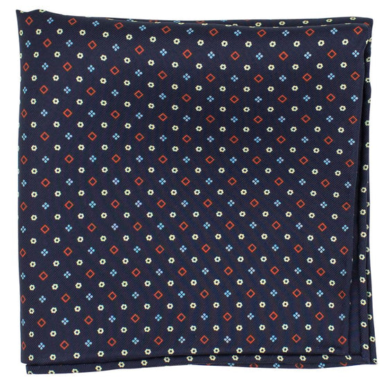 Navy Macclesfield Neat Print Hand-Rolled Pocket Square N5 - Exquisite Trimmings