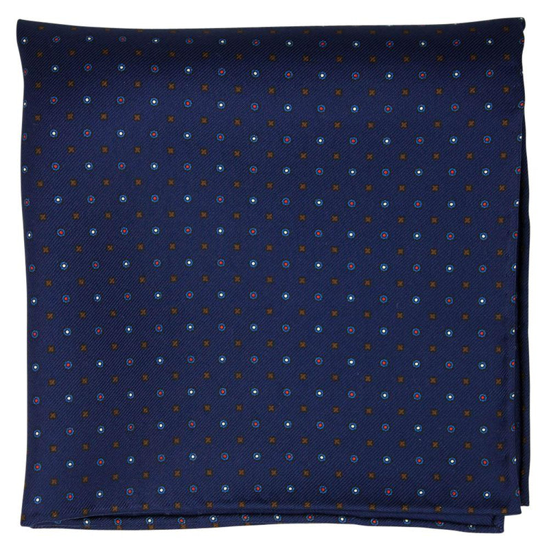 Navy Macclesfield Neat Print Hand-Rolled Pocket Square N6 - Exquisite Trimmings