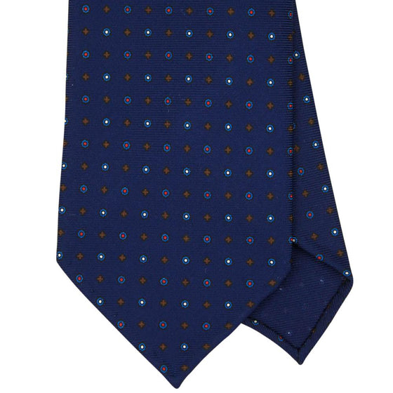 Navy Macclesfield Print 36oz 7-Fold Silk Tie 8cm N6 - Exquisite Trimmings