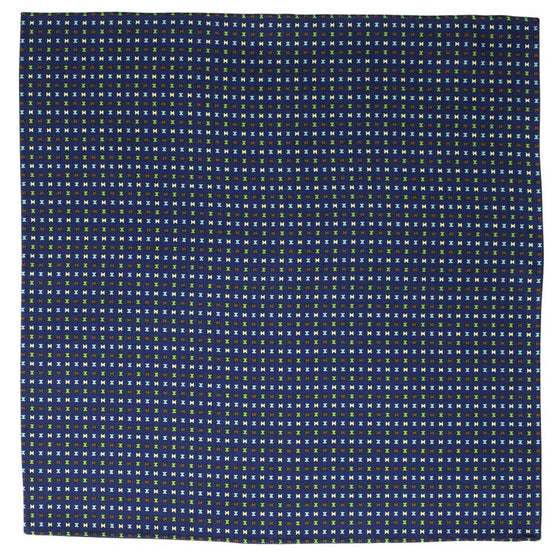 Navy Macclesfield Neat Print Hand-Rolled Pocket Square N7 - Exquisite Trimmings