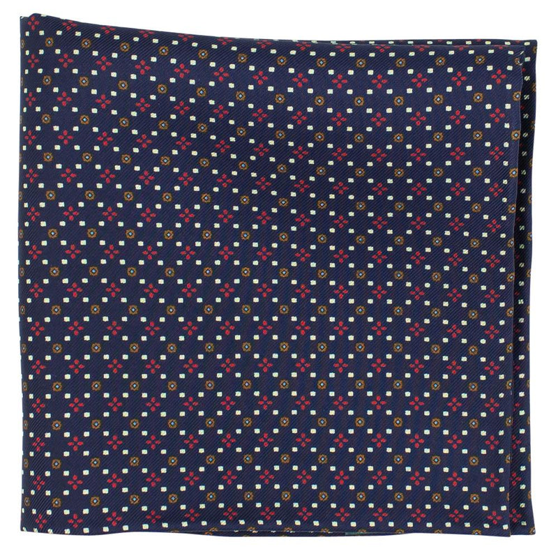 Navy Macclesfield Neat Print Hand-Rolled Pocket Square N8 - Exquisite Trimmings
