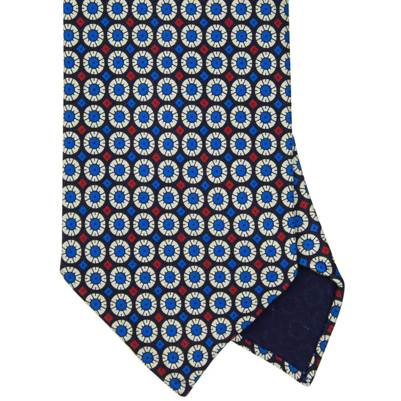 Navy Macclesfield Print 36oz 3-Fold Silk Tie 8cm N12 - Exquisite Trimmings