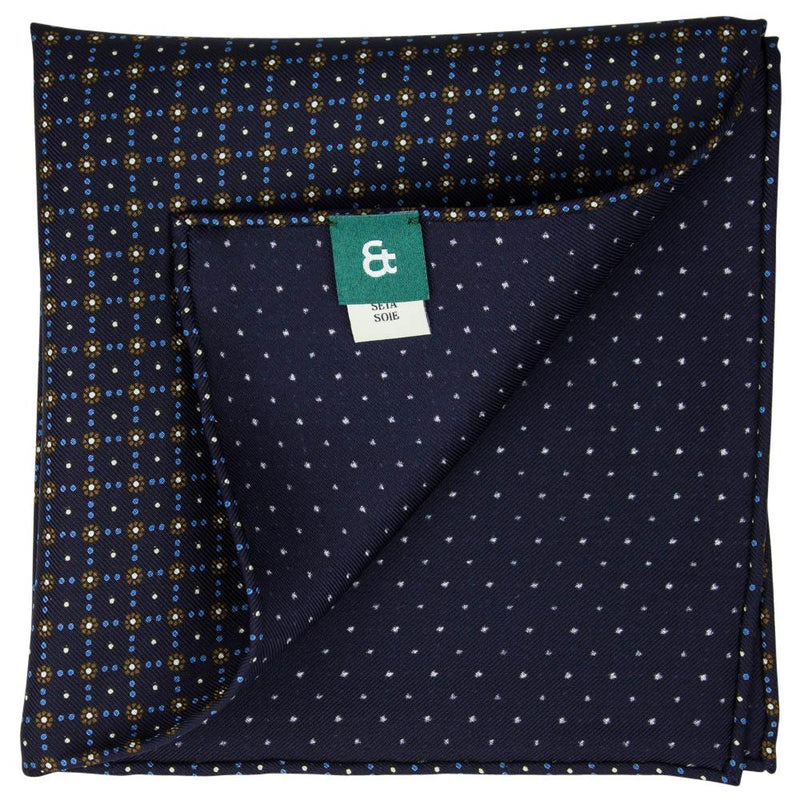 Navy Macclesfield Neat Print Hand-Rolled Pocket Square N13 - Exquisite Trimmings