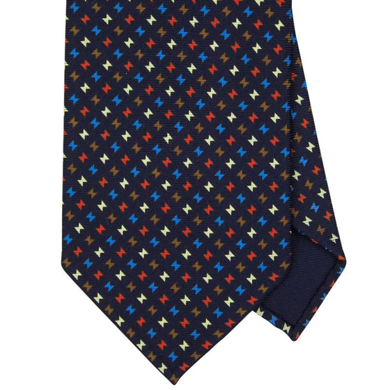 Navy Macclesfield Print 36oz Silk Ties 8cm N14 - Exquisite Trimmings