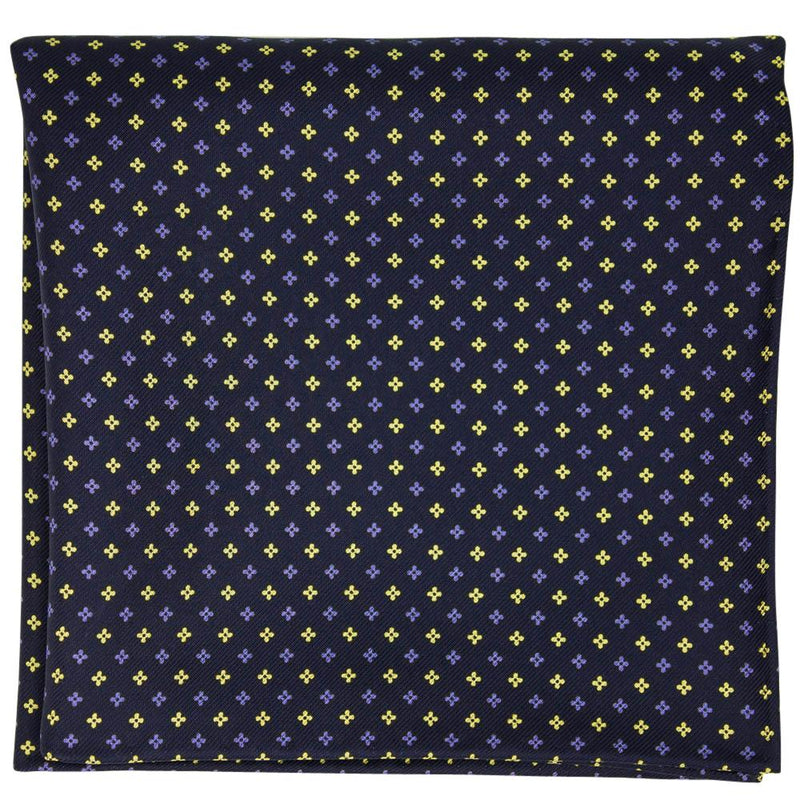 Navy Macclesfield Neat Print Hand-Rolled Pocket Square N24 - Exquisite Trimmings