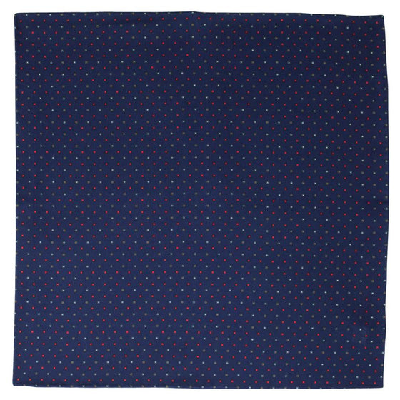 Navy Macclesfield Neat Print Hand-Rolled Pocket Square N25 - Exquisite Trimmings