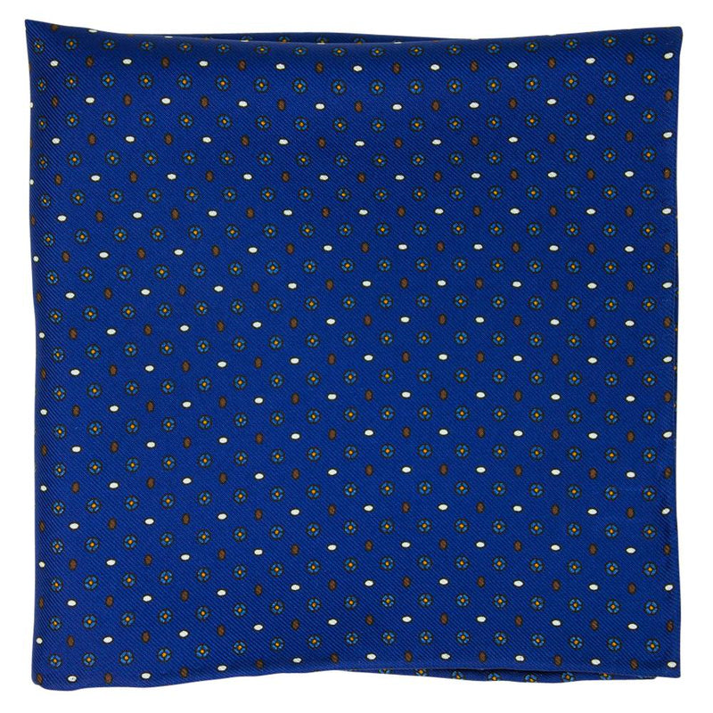 Navy Macclesfield Neat Print Hand-Rolled Pocket Square N26 - Exquisite Trimmings