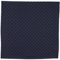 Navy Macclesfield Neat Print Hand-Rolled Pocket Square N28 - Exquisite Trimmings