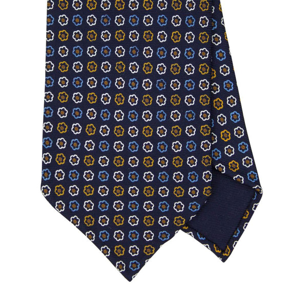 Navy Macclesfield Print 36oz 7-Fold Silk Tie 8cm N32 - Exquisite Trimmings