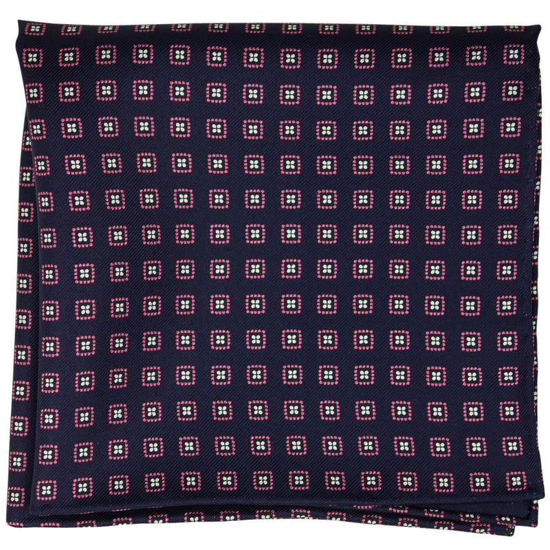 Navy Macclesfield Neat Print Hand-Rolled Pocket Square N33 - Exquisite Trimmings