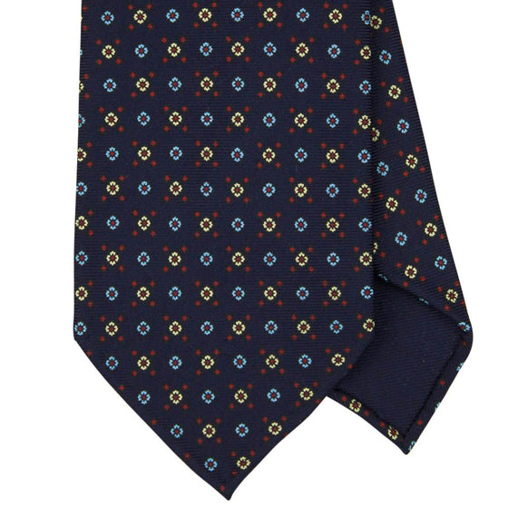 Navy Macclesfield Print 36oz 7-Fold Silk Tie 8cm N38 - Exquisite Trimmings