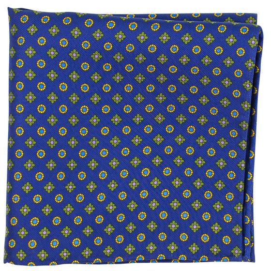 Navy Macclesfield Neat Print Hand-Rolled Pocket Square N40 - Exquisite Trimmings