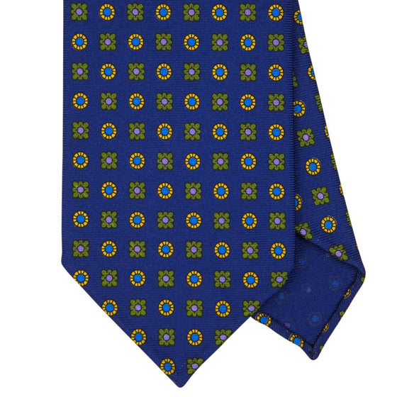 Navy Macclesfield Print 36oz Silk Ties 8cm N40 - Exquisite Trimmings