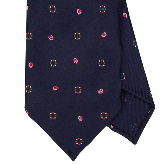 Navy Macclesfield Print 36oz Silk Ties 8cm N42 - Exquisite Trimmings