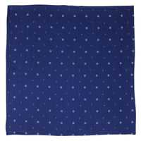 Navy Macclesfield Neat Print Hand-Rolled Pocket Square N43 - Exquisite Trimmings