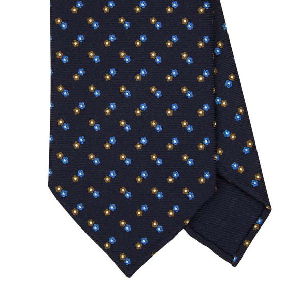 Navy Macclesfield Print 36oz 7-Fold Silk Tie 8cm N44 - Exquisite Trimmings