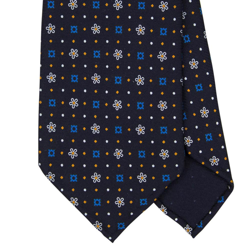 Navy Macclesfield Print 36oz Silk Ties 8cm N45 - Exquisite Trimmings