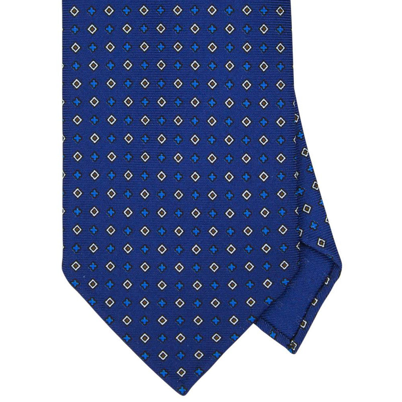 Navy Macclesfield Print 36oz 7-Fold Silk Tie 8cm N47 - Exquisite Trimmings