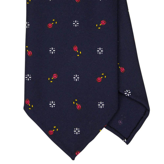 Navy Macclesfield Print 36oz Silk Ties 8cm N48 - Exquisite Trimmings