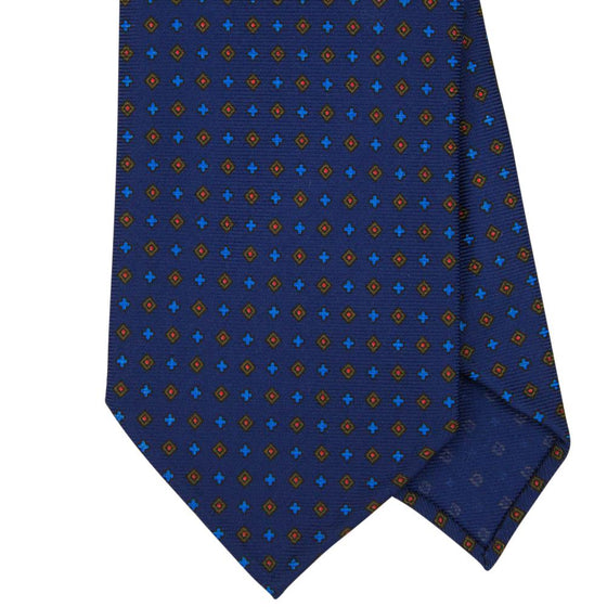 Navy Macclesfield Print 36oz 7-Fold Silk Tie 8cm N57 - Exquisite Trimmings