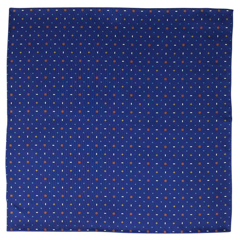 Navy Macclesfield Neat Print Hand-Rolled Pocket Square N58 - Exquisite Trimmings