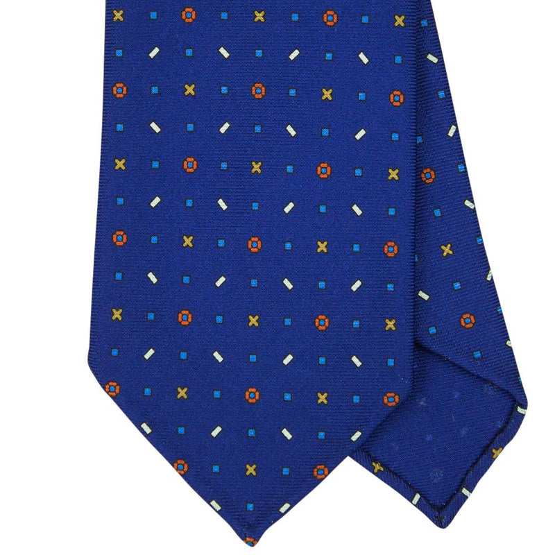 Navy Macclesfield Print 36oz Silk Ties 8cm N58 - Exquisite Trimmings