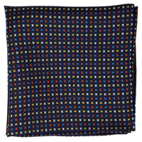 Navy Macclesfield Neat Print Hand-Rolled Pocket Square N59 - Exquisite Trimmings