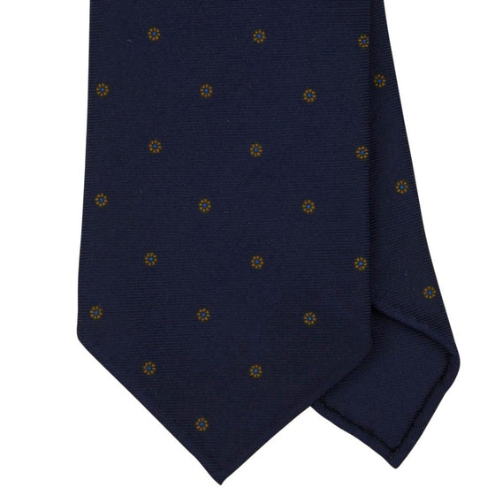 Navy Macclesfield Print 36oz 7-Fold Silk Tie 8cm N62 - Exquisite Trimmings