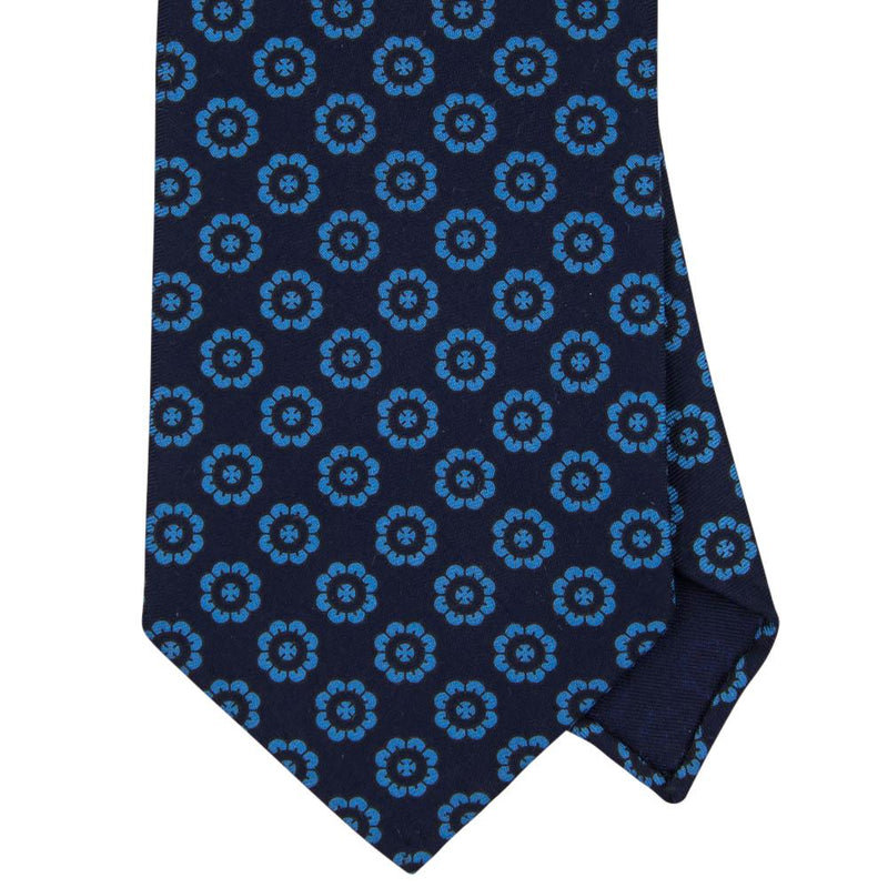 Navy Macclesfield Print 36oz Silk Ties 8cm N64 - Exquisite Trimmings