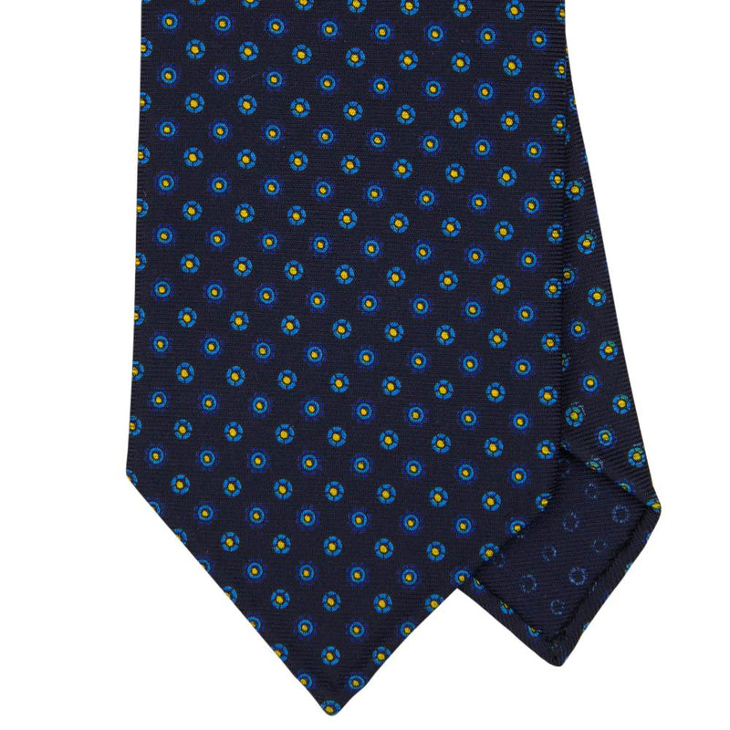 Navy Macclesfield Print 36oz Silk Ties 8cm N74 - Exquisite Trimmings