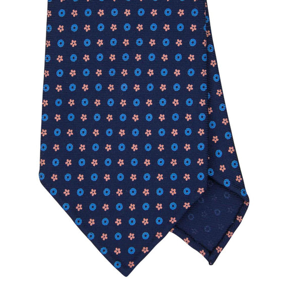 Navy Macclesfield Print 36oz 3-Fold Silk Tie 8cm N91 - Exquisite Trimmings