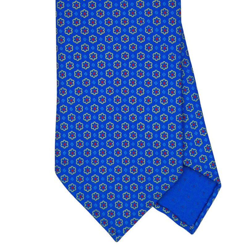 Blue Macclesfield Print 36oz Silk Ties 8cm B9 - Exquisite Trimmings
