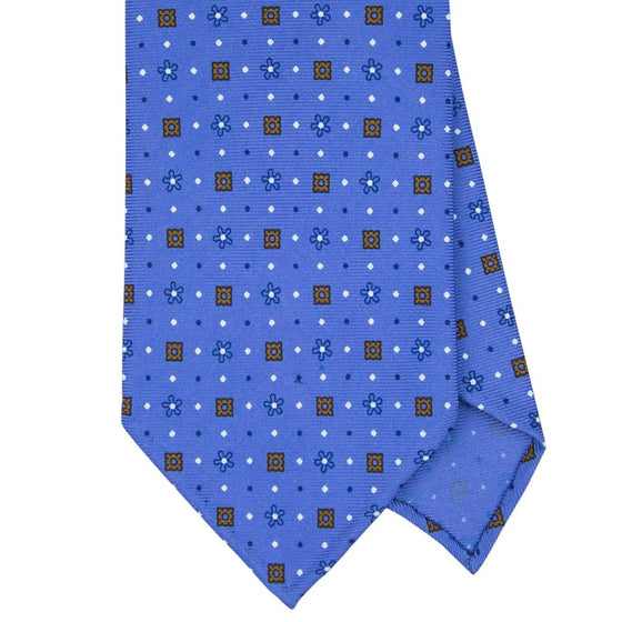 Blue Macclesfield Print 36oz 3-Fold Silk Tie 8cm B11 - Exquisite Trimmings