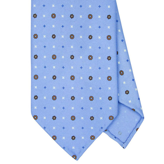 Blue Macclesfield Print 36oz 7-Fold Silk Tie 8cm B13 - Exquisite Trimmings